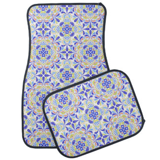 Blue and green kaleidoscope pattern auto mat