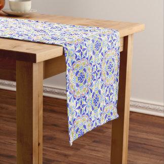 Blue and green kaleidoscope pattern short table runner