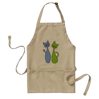 blue and green kitties standard apron