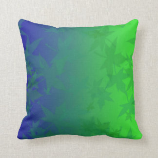 Blue and Green Leaf Shadow Throw Pillow