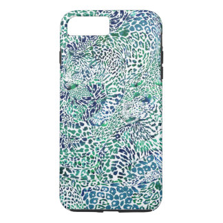 Blue and Green Leopard Camouflage Spots iPhone 7 Plus Case