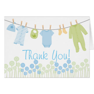 Blue and Green Little Clothes Baby Sprinkle Thank Note Card