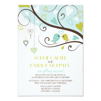 Blue and Green Lovebirds Wedding Invitation