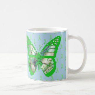 Blue and Green Lyme Disease Awareness Butterfly Coffee Mug