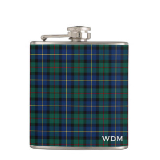 Blue and Green MacLeod of Skye Clan Plaid Monogram Flask