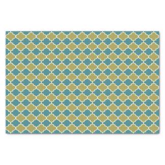 Blue and Green Moroccan Lattice Tissue Paper