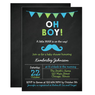 Blue and Green Moustache Baby Shower Card