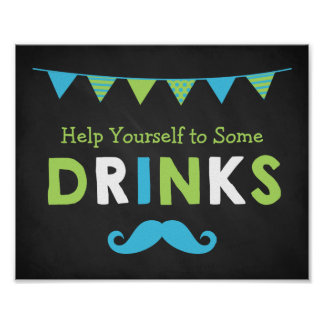 Blue and Green Moustache Chalkboard Baby Shower Poster