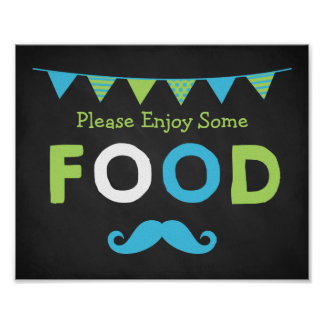 Blue and Green Moustache Chalkboard Food Sign