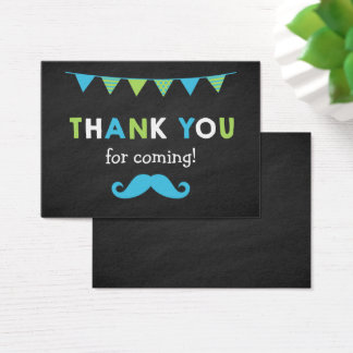 Blue and Green Moustache Chalkboard Party Favour Business Card