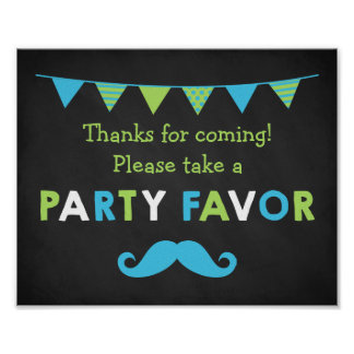 Blue and Green Moustache Chalkboard Party Favour Poster