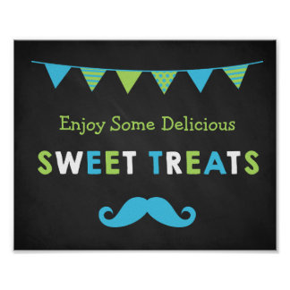 Blue and Green Moustache Chalkboard Sweet Treats Poster