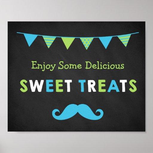 Blue and Green Moustache Chalkboard Sweet Treats Poster