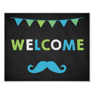 Blue and Green Moustache Chalkboard Welcome Signs