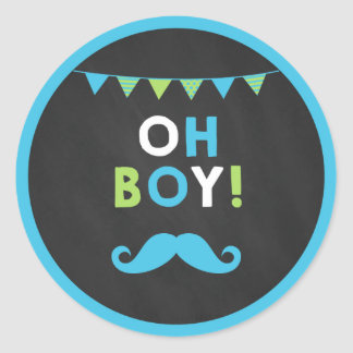 Blue and Green Moustache Little Man Cupcake Classic Round Sticker