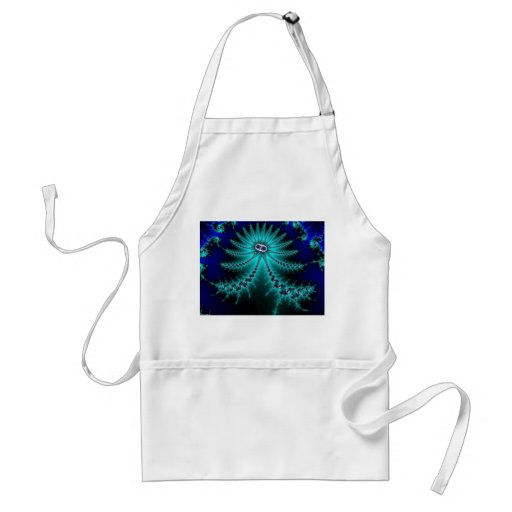 Blue and Green Octopus Fractal Apron