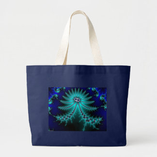 Blue and Green Octopus Fractal Tote Bags