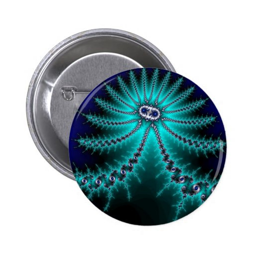 Blue and Green Octopus Fractal Pin