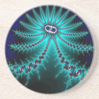 Blue and Green Octopus Fractal Drink Coaster