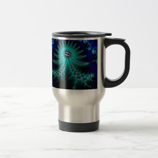 Blue and Green Octopus Fractal Coffee Mug