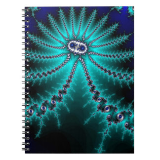 Blue and Green Octopus Fractal Spiral Note Book