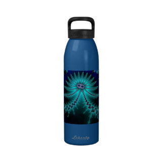 Blue and Green Octopus Fractal Water Bottles