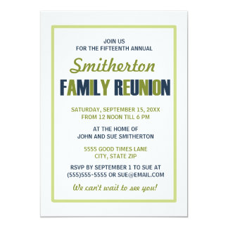 Blue and Green on White Family Reunion Invitation