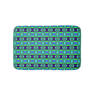 Blue and Green Oval Pattern Retro Bath Mat