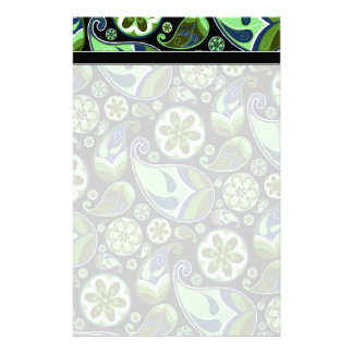 Blue and Green Paisley on Black Stationery Paper