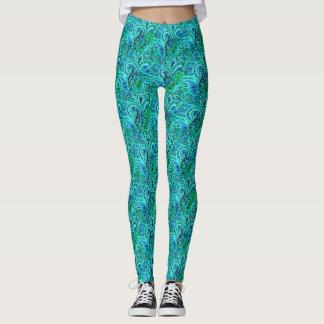 Blue and Green Paisley Yoga Running Exercise Leggings