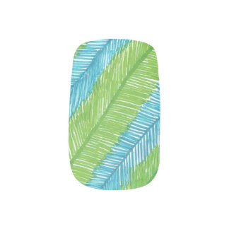 Blue and Green Palm Leaves Nail Art