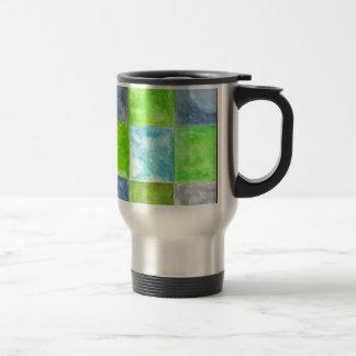 Blue and Green Pattern Travel Mug