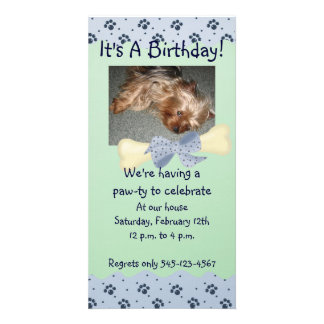 Blue and Green Paw Print Birthday Invitation Photo Cards