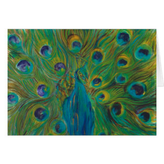 Blue And Green Peacock  Designer Greeting Cards