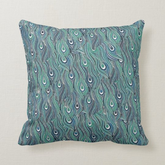 Blue and Green Peacock Feathers Pillow