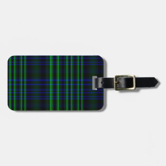 Blue and Green Plaid Checked Luggage Tag