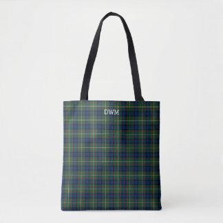 Blue and Green Plaid MacLaren Tartan Monogram Tote Bag