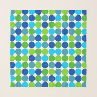 Blue and Green Polka Dot Pattern Scarf