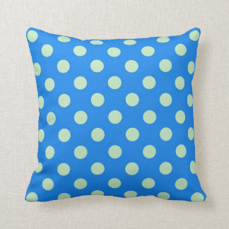 Blue and Green Polka Dot Throw Pillow
