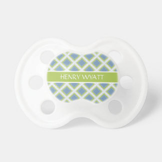 Blue and Green Polka Dot Tiles Personalized Pacifier