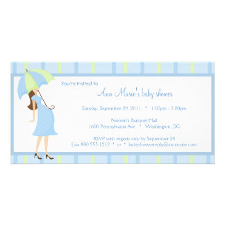 Blue And Green Polka Dots Baby Shower Invitation Customized Photo Card