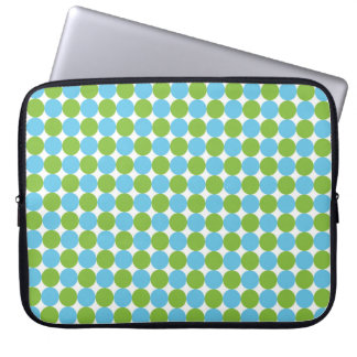 Blue and green polka dots pattern laptop sleeve