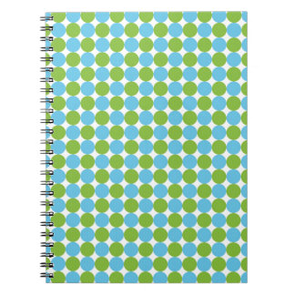 Blue and green polka dots pattern notebooks