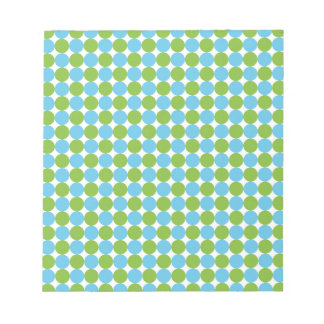 Blue and green polka dots pattern notepad