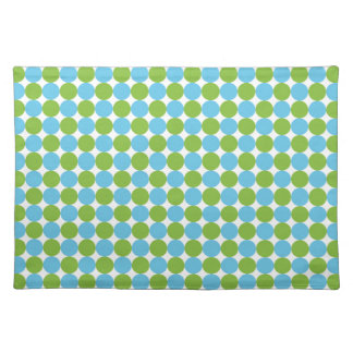 Blue and green polka dots pattern placemat