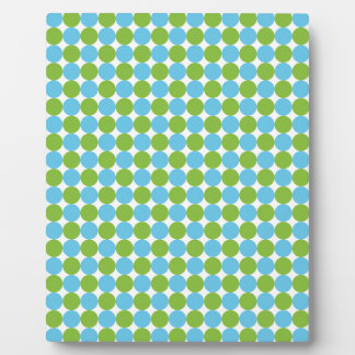 Blue and green polka dots pattern plaque