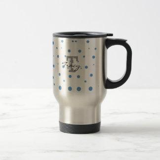 Blue and Green Polka Dots Personalized Travel Mug