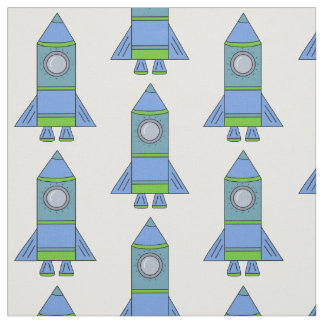 Blue and Green Rocket Space Pattern Kids Fabric
