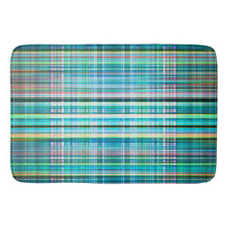 Blue and green rough stripes pattern bath mat