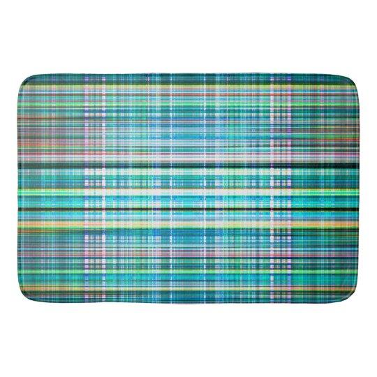 Blue and green rough stripes pattern bath mat